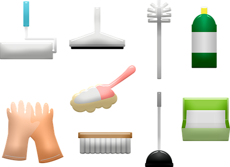 Cleaning Supplies, Gloves, Paint, Clean