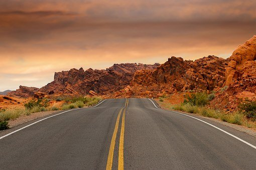 Road, Red Rocks, Rock Formations, Sunset