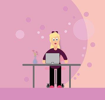Woman, Computer, Desk, E Learning