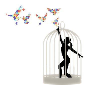 Woman, Cage, Birds, Puzzle, Autism