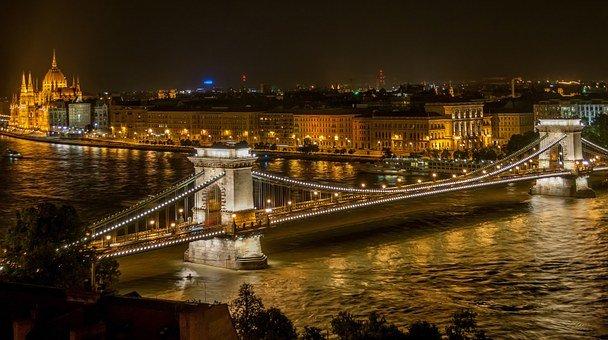 Bridge, River, City, City Lights