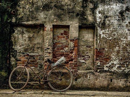 Bike, Wall, Sidewalk, Old Bike