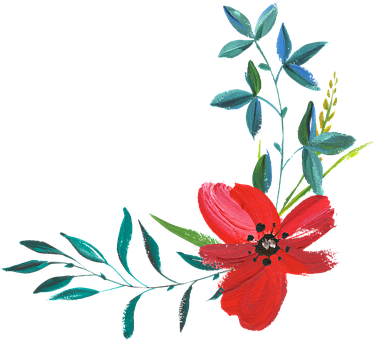 red-petaled flower painting