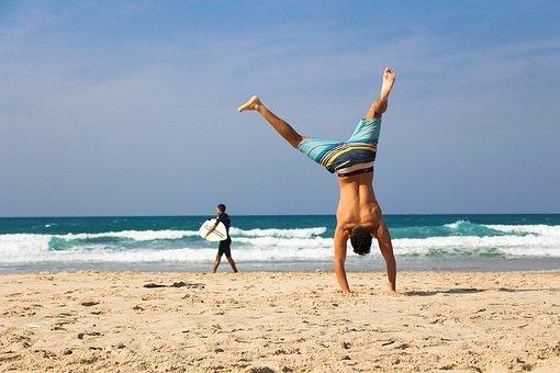 Handstand, Man, Beach, Sea, Ocean, Sand